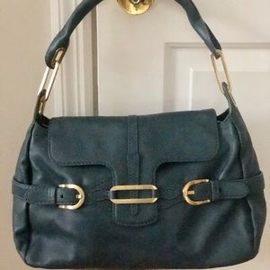 JIMMY CHOO Tulita Green Leather Shoulder Flap Bag